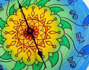 Sunflower Mandala Wall Clock - Hand Painted Geometric Home Decor on Recycled Vinyl Record