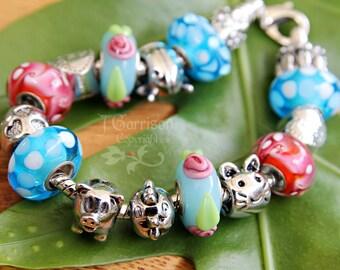 Farm Friends European Charm Bracelet - large hole beads - cat, chicken, pig, ladybug -Free Shipping USA