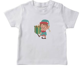 Christmas Elf With Presents Graphic  Boy's White T-shirt