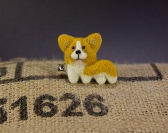 Doodle dog: welsh corgi badge, key chain or bag charm - dog gift