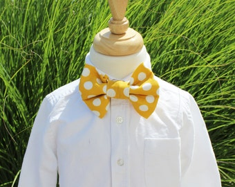 Little Boys Bow Tie, Boys Tie, Mustard Yellow and White Polka Dot Bow Tie, Easter Tie, Wedding Tie, First Communion Tie