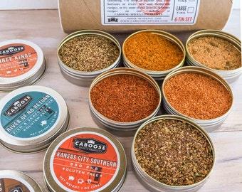Grill Set | Boyfriend Gift Box | BBQ Spices Gift Kit | Birthday Gift for Him | 6 Grilling Spices Sampler Set | Kashmir - Abilene Set