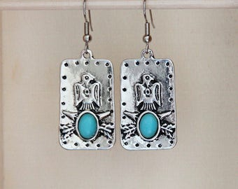 Silver and Turquoise Earrings, Silver and Faux Turquoise Earrings, Silver and Turquoise Earrings with Embossed Eagle