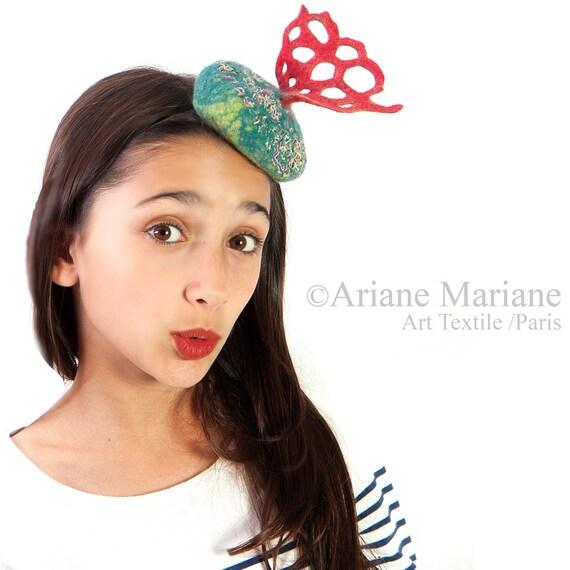 Eccentric Women Headband Hat, Burlesque fascinator, Underwater textile sculpture hat, Colorful wearable art , corail