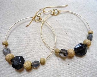 Gold Fill Hoops w/ Iolite Gold filled Beads