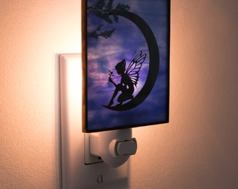 Moon Fairy Night Light - Fairy Home Decor - Unique Christmas Gift For Her - Moon Night Light - Stained Glass Lighting - Stained Glass Moon