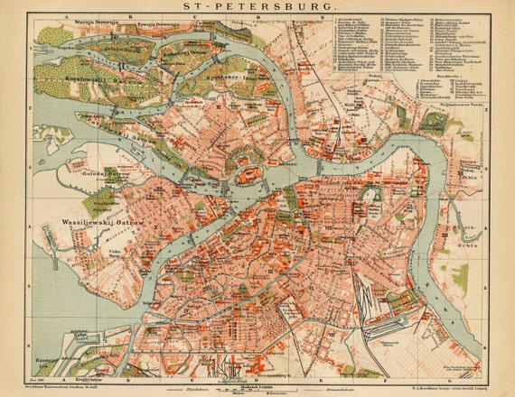 Map Art St Petersburg Russia Map Poster Vintage Maps Old