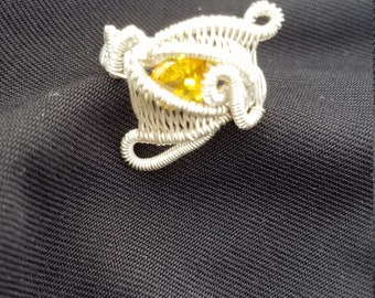 Yellow sapphire in sterling silver ring size 5