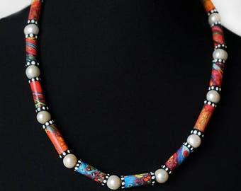 "recycle paper Necklace "" Elomas Wonderland"" with shiny baroque pearls,Perlenkette,Halskette, Papierperlen, Papierschmuck,paper jewelry"