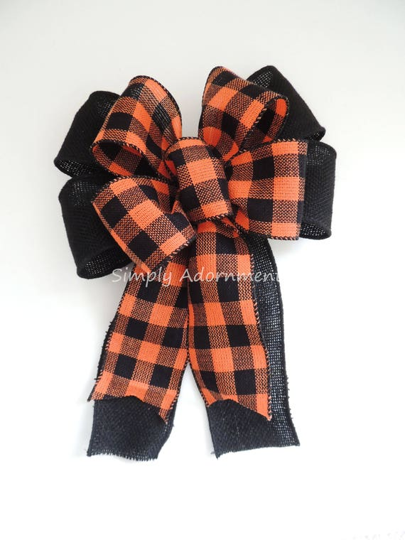 Halloween Buffalo Check Bow Halloween Buffalo Burlap Wreath Bow Orange Black Buffalo Plaid Burlap Bow Halloween Check Burlap Door Hanger Bow