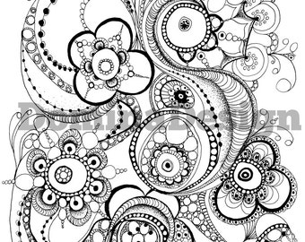 Adult coloring page - Zentangle circles - digital download