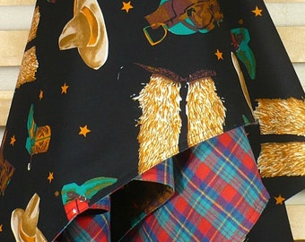 Stroller Blanket, Western, cowboy hats, boots, chaps, saddles, red plaid reverse, Extra large, SALE
