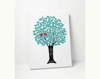 CANVAS ART: Monogram Wedding Tree Love Birds, Personalized Anniversary Gift, Ready to Hang, Custom Anniversary
