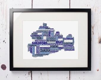 Surrey Word Map - Framed Print