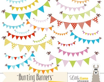 Bunting Banner Clip Art, Party Flag Clipart, Garland Clipart, 24 PNG Images, Instant Download, Commercial Use