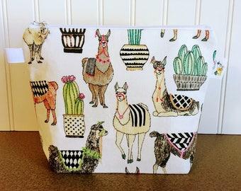 Llama Knitting Project Bag - Small / Sock Size