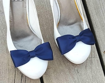 Navy Shoe Clips, Wedding Shoe Clips, Satin Shoe Clips, Bridal Shoes Clips, Wedding Shoes Clips, Shoe Clips Only MANY COLORS, Gifts for Her
