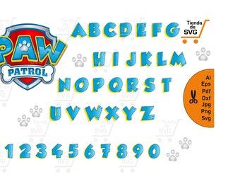 PAW PATROL Alphabet svg, paw patrol escudo svg, fonts paw patrol svg, PAW Patrol Alphabet svg, paw patrol birthday party svg,