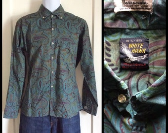 Vintage 1960s Button Down Collar Tapered Barracuda Fashion Shirt size Large Green Purple Paisley