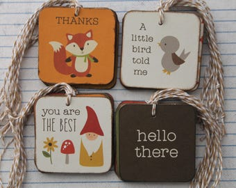 "36  Sentiment tag sampler Thank you, Thinking of You, Hello, Just for you +++ patterned paper/chipboard Tags 2"" x 2"""