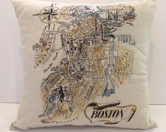 Boston Map Pillow