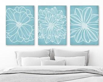 Light Blue BATHROOM WALL Art, CANVAS or Prints, Blue Flower Bedroom Pictures, Dahlia Flower Outline, Floral Bathroom Decor, Set of 3 Artwork