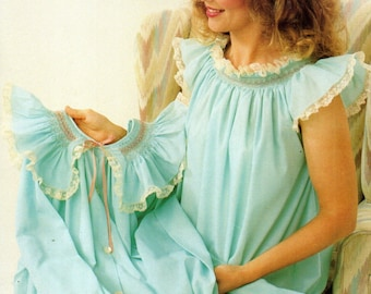Smocked Gown & Robe CHILD Size 2-6 Mary's Nifty Needle 1985