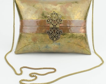 1930's Brass and copper clamshell Pillow Purse chain cross body Red Velvet Lining filigree closure and hinge Beautiful Patina gift for her