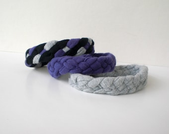 Jersey Bracelets (Pick THREE), Braided 4-Strand Up-Cycled from Tshirts
