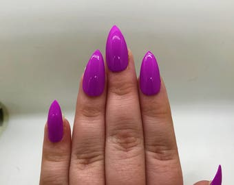 Neon Purple Fake Nails | Press On | Glue On Nails | Different Shapes