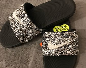 Bling Nike Slides in black and silver