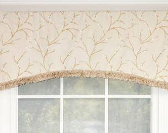 Willow arch valance with chenille trim