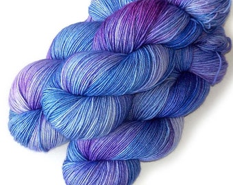 Hand dyed Superwash Merino Sock Yarn Handdyed, Iris