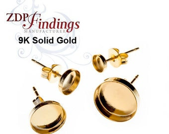 Real 9k Yellow Gold Solid Earring Bases with Bezel Cup, earbacks included - Choose your Size (61009K)