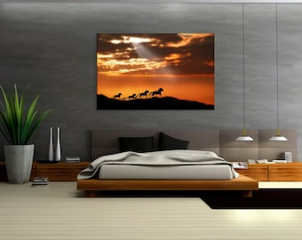 Wild Horses - Animal Canvas Print Wall Art / Stretched or Rolled / Available in 1, 3, and 5 Panel Versions