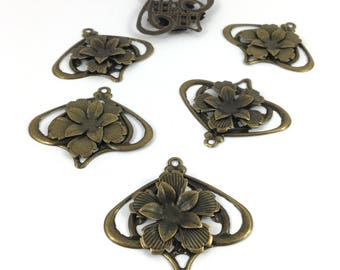 Set of 6 prints embossed flower color bronze