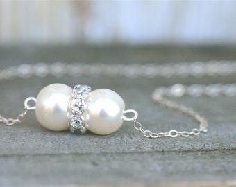 Pearl & Crystal Bridesmaid Jewelry Set, Pearl Bridesmaid Necklace, Bridesmaid Pearl Jewelry Gift Set, Pearl Bridesmaid Set Color Your Choice