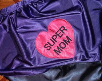 Heart Super MOM Custom Superhero Cape Reversible