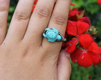 Teal Turtle Ring
