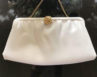 Vintage 1960s white leather like purse
