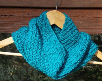 cowl hand knit teal green, spiral rib, ribbed cowl