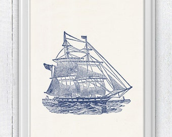 Old Ship in blue - Vintage print - sea life print- vintage illustration NTC019