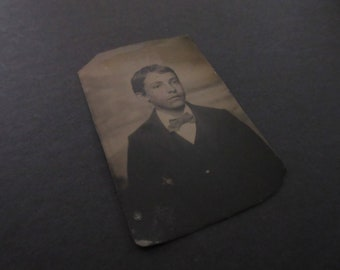 Vintage Small Tin Type of Young Lad with Bow Tie