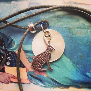 Simple Hare and Motherofpearl Full Moon Hemp Cord Necklace