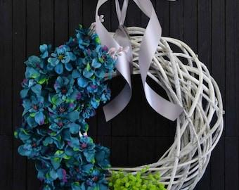 Modern Teal Floral Front Door Wreath