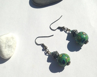 Green/Blue polymer bead Silver earrings