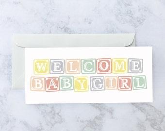 Girl Blocks Greeting Card