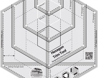"""Hexagon Trim Tool; Creative Grids; Create 2"""", 4"""" or 6"""" Centers; Quilters Cutting Templates; CGRJAW4; Quilting, Sewing"""