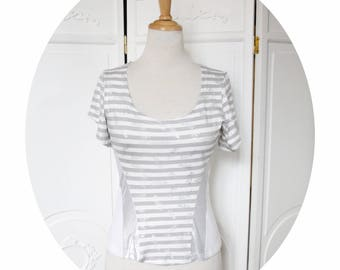 Top strapless jersey white grey stripes, short sleeve top grey and white striped fitted, short sleeves, strapless top, striped Tshirt