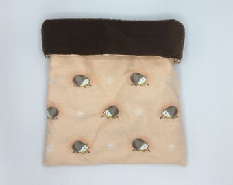 Flannel Sleep Sack, Cuddle Sack, Orange Nursery Hedgehogs, for Hedgehogs, Sugar Gliders, Guinea Pigs, Rats, and other Small Animals